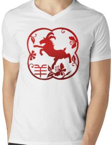Chinese New Year of The Sheep Goat Ram Mens V-Neck T-Shirt