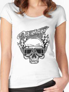Old Skool Skull Design Women's Fitted Scoop T-Shirt