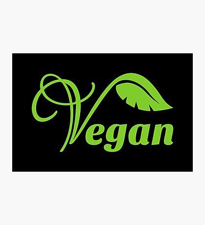 Green Vegan Logo Photographic Print