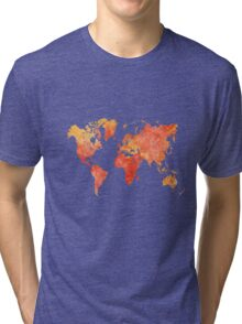 World map in watercolor Tri-blend T-Shirt