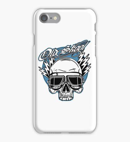 Old Skool Skull Design in blue iPhone Case/Skin