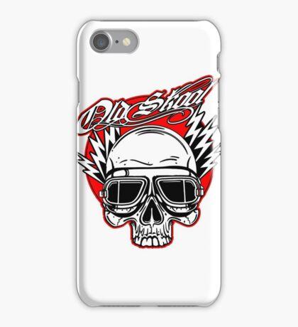 Old Skool Skull design in red iPhone Case/Skin