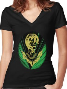 Sanity in Disguise (green)  Women's Fitted V-Neck T-Shirt