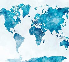 World map in watercolor  by paulrommer