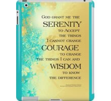 Serenity Prayer Blue Gold Flowers iPad Case/Skin