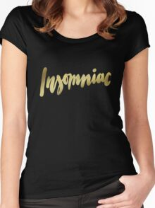 Insomniac brush lettering Women's Fitted Scoop T-Shirt