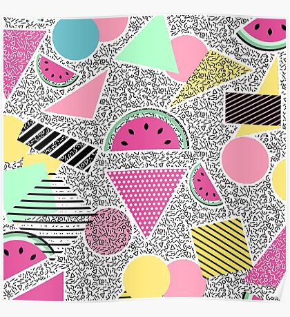Modern geometric pattern Memphis patterns inspired Poster