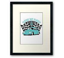 VW Beetle Classic Not Plastic Design in turquoise Framed Print