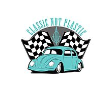 VW Beetle Classic Not Plastic Design in turquoise Photographic Print