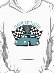 VW Beetle Classic Not Plastic Design in turquoise T-Shirt