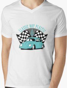 VW Beetle Classic Not Plastic Design in turquoise Mens V-Neck T-Shirt