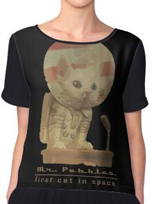 Mr. Pebbles - The first cat in space! Chiffon Top