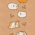 Hand Drawn Guinea-Pigs on Brown Paper by Zoe Lathey