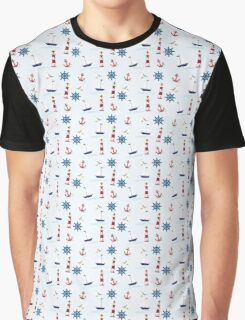 Nautical Boat, Lighthouse, & Anchor Graphic T-Shirt