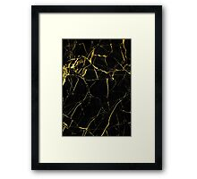 Marble - Golden Black Framed Print