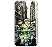 Woman on Vespa in New York iPhone Case/Skin