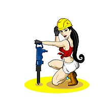 Worker woman girl Photographic Print