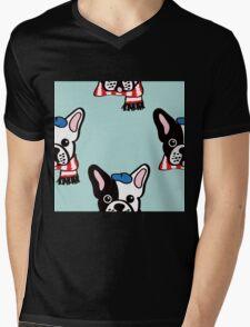 French Bulldog in Robins Egg Blue Mens V-Neck T-Shirt
