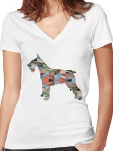 Schnauzer - Colorful Geometric Pattern Silhouette - plaid Women's Fitted V-Neck T-Shirt