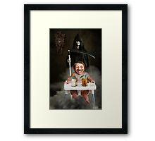 The idea is to die young as late as possible. Framed Print