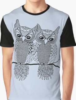 Owls in love black Graphic T-Shirt