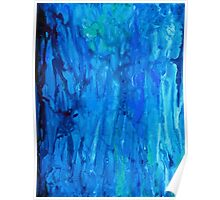 Abstract Dripping Ocean Painting Poster
