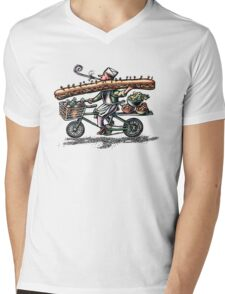 Sub Sandwich Delivery Guy on Bike Mens V-Neck T-Shirt