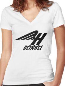 Heinkel Flugzeugwerke Logo (Black) Women's Fitted V-Neck T-Shirt