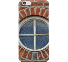 Red Brick Wall with Round Window, 17th century house, England iPhone Case/Skin
