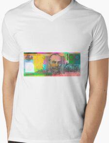 Pop Art Colorized One Hundred Australian Dollar Bill Mens V-Neck T-Shirt
