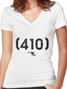 Area Code 410 Maryland Women's Fitted V-Neck T-Shirt