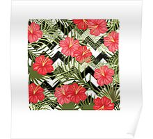 Tropical Floral Pattern with Chevron Poster