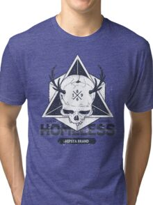 Dot work styled print with skull and geometric hipster Tri-blend T-Shirt