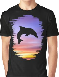Sunset Dolphin Graphic T-Shirt
