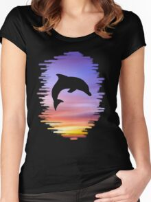 Sunset Dolphin Women's Fitted Scoop T-Shirt