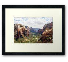 Angels Landing over Zion Valley Framed Print