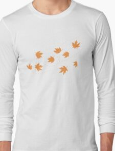 The flying autumn leaves Long Sleeve T-Shirt