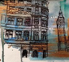 You and I, Big Ben Ink Drawing by Colleen Cernik