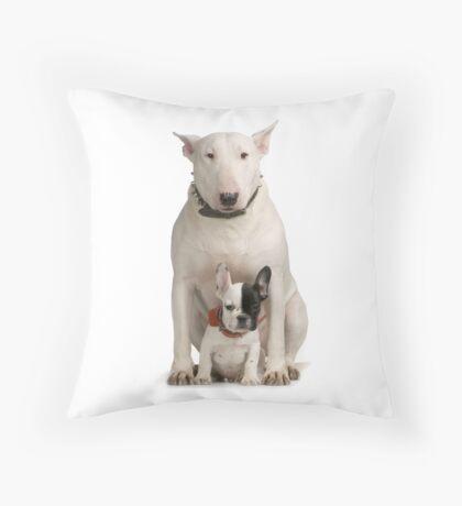English Bull Terrier & Frenchie Friend Throw Pillow