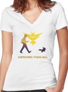 Pokemon Go - Catching Them All Team Instinct Eevee Women's Fitted V-Neck T-Shirt