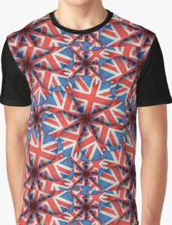 Heart Shaped England Flag Pattern Design Graphic T-Shirt