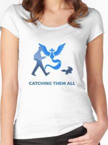 Pokemon Go - Catching Them All Team Mystic Eevee Women's Fitted Scoop T-Shirt