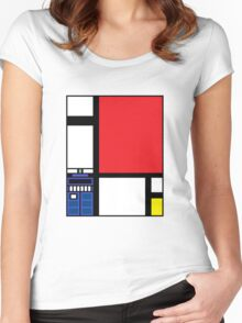 Dr. Who Composition in Red, Blue, and Yellow Women's Fitted Scoop T-Shirt