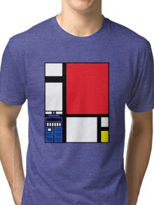 Dr. Who Composition in Red, Blue, and Yellow Tri-blend T-Shirt