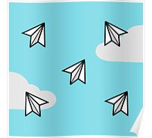 Paper Airplane Pattern Design Poster