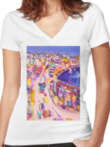 Into the night Women's Fitted V-Neck T-Shirt