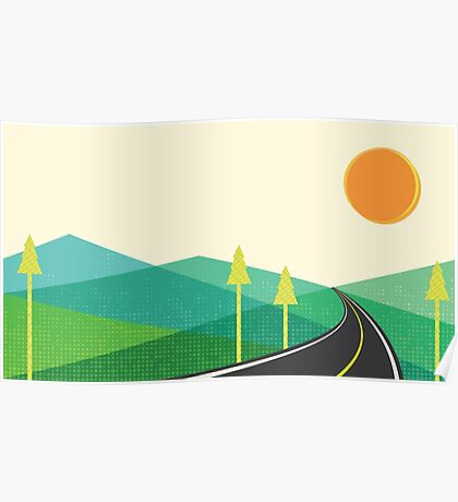 Road to hill landscape Poster