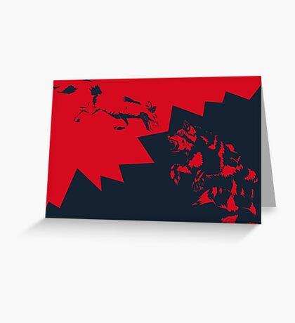 Fox VS Bear Greeting Card