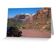 Vintage car in Zion Valley Greeting Card