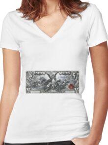 Five U.S. Dollar Bill - 1896 Educational Series  Women's Fitted V-Neck T-Shirt
